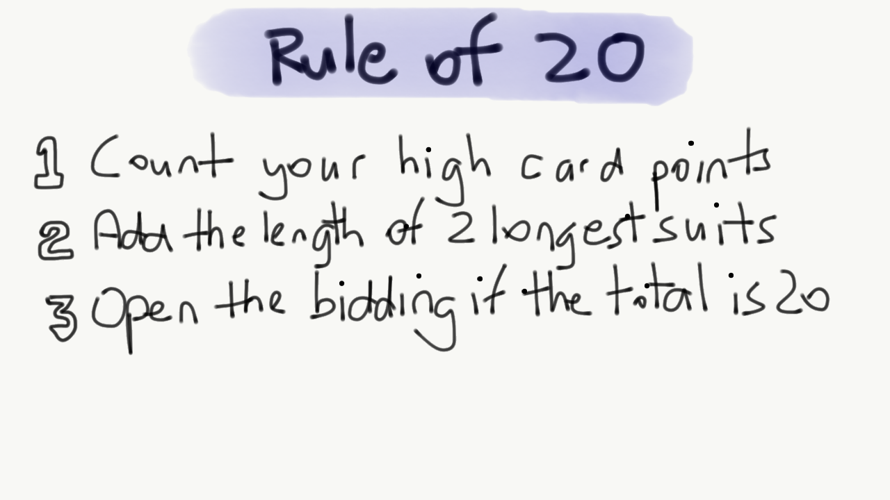 Count your high card points, add the length of your two longest suits. If the total equals 20 you have enough to open the bidding.