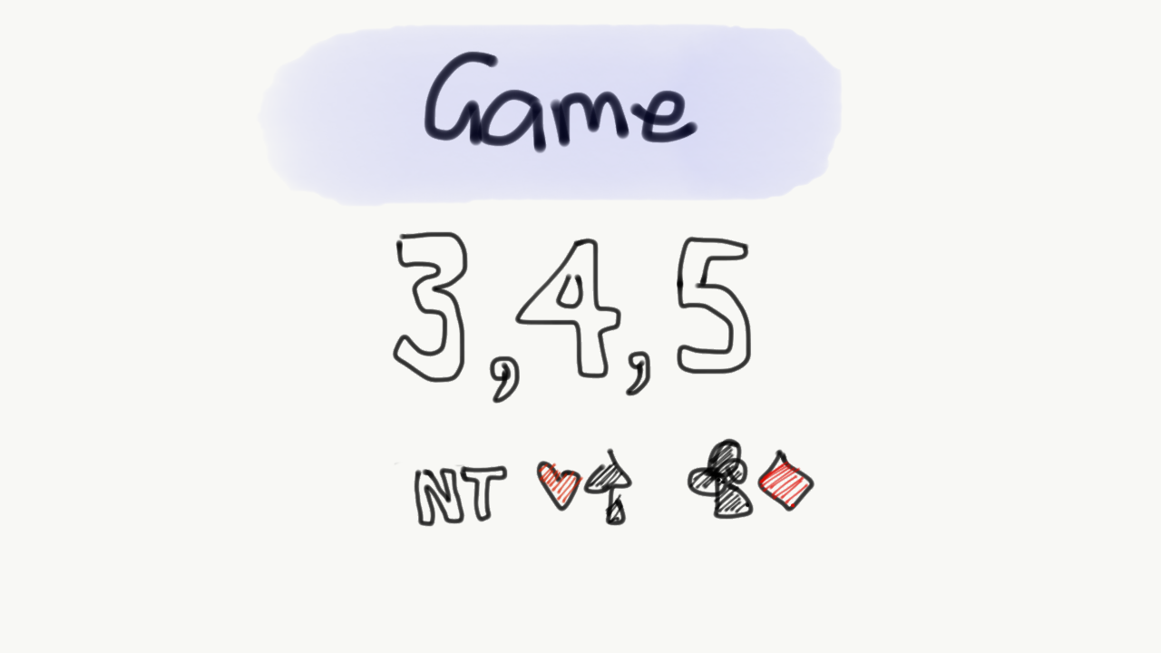 Game is 3NT, 4h, 4s, 5c, 5d
